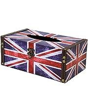 OSCool Wooden Retro British Union Jack Tissue Holder Box Cover