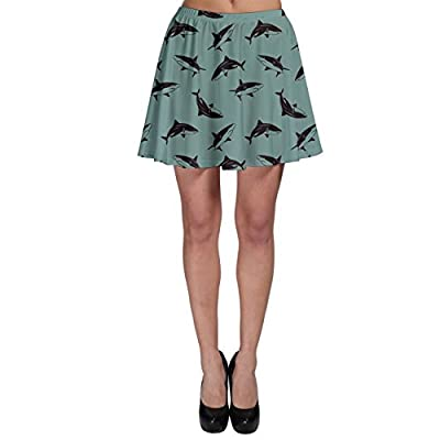 CowCow Womens Turquoise Pattern Sharks Skater Skirt