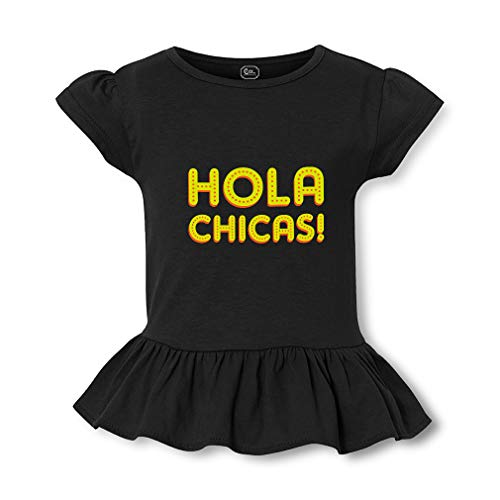 Hola Chicas Short Sleeve Toddler Cotton Girly T-Shirt Tee - Black, Large