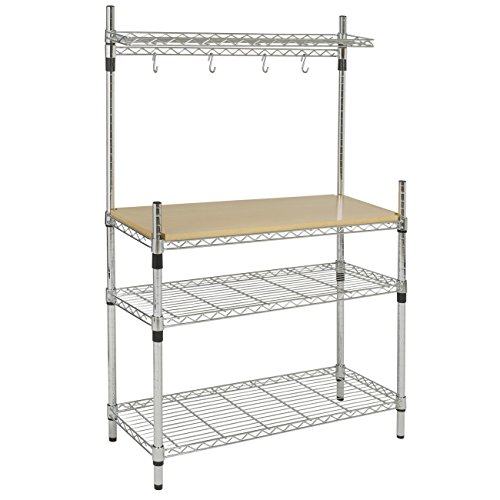 best-choice-products-kitchen-storage-bakers-rack-chrome-wood-w-top-shelf-pan-hanger-cookware