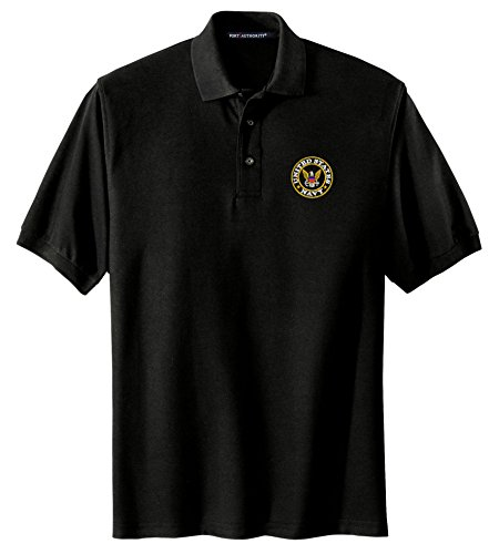 Spiffy Custom Gifts Mens U.S. Navy Logo Embroidered Polo Shirt 2XL Black by Spiffy Custom Gifts
