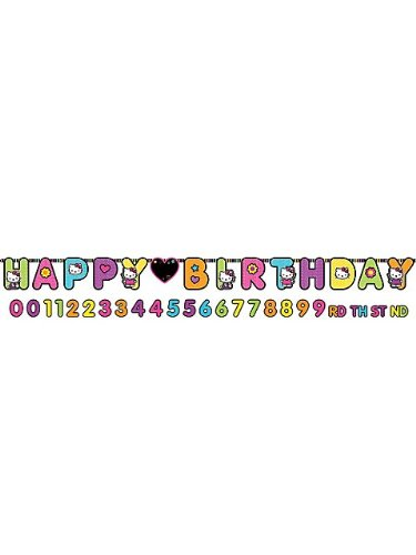 Hello Kitty 'Neon Tween' Jumbo Letter Birthday Banner (1ct)