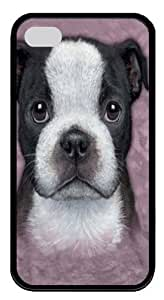 Boston Terrier Puppy TPU Silicone Case Cover for iPhone 4/4S Black by icecream design