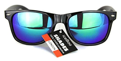 sol New Wayfarer de tonos Unisex de Green dos UV400 frame 5840 Reflective Vintage Espejo Gafas Retro Black Lens Classic Lentes r4FwxnqF