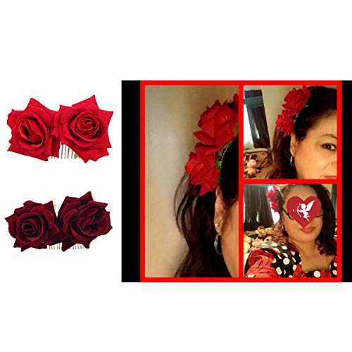 Ever Fairy Rose Flower Hair Clip Comb Slide Flamenco Dancer Pin Flower Brooch Lady Hair Styling Clip Hair Accessories (2 Color Pack:Red+ Deep Red)