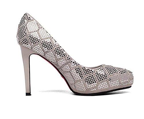 0c16c2f9834bab ... Frauen Schuhe aus echtem Wildleder Stöckelabsatz Pailletten Pumps Kleid  Party Größe 35 bis 38 Gray ...