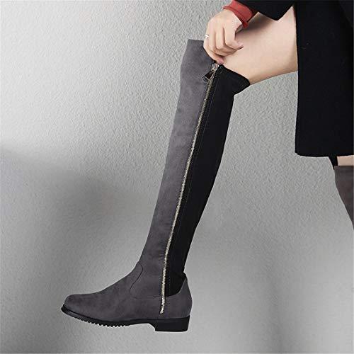 donna gray Stivali ginocchia donna da Stivali Scarpe casual Dark da da con Stivali Sandalette DEDE donna wSzZxqn4P1