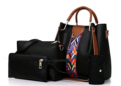 de de gran de cuatro de y de de de piezas bolsa de la mujer hombro gran mensajero Black minimalistas viaje tarjeta paquetes tamaño de para tamaño la la Bolso bolsa bolsos dxPRd