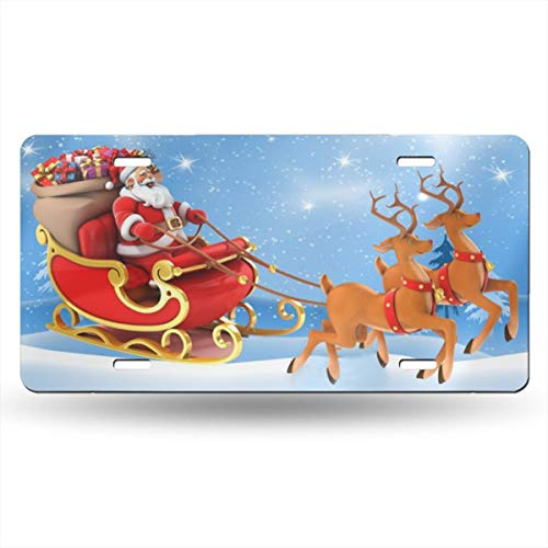 WHAOJ Personalized Santa Sleigh Car License Plate Auto Tag