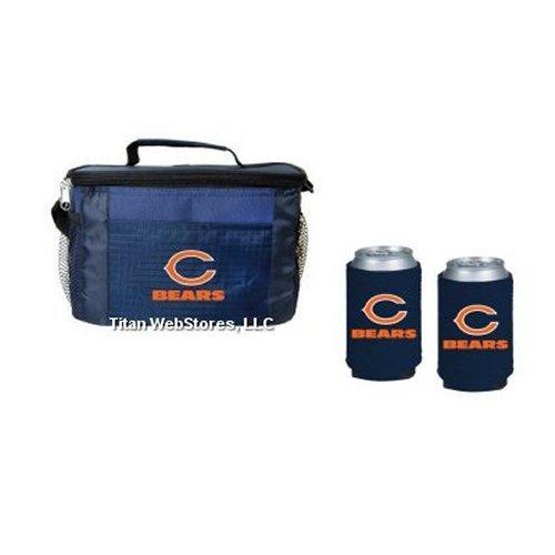 NFL Football Team Logo Picnic Cooler & Neoprene Beverage Coolies (2) Gift Set (Bears) ()
