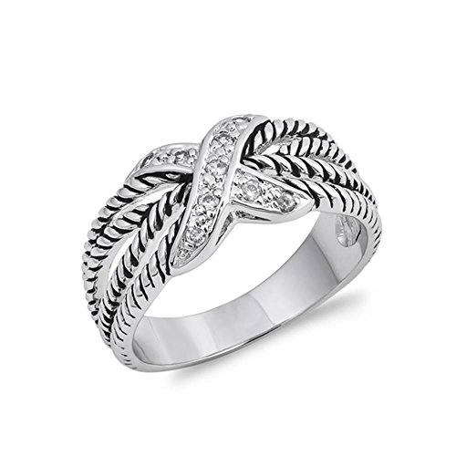 Glitzs Jewels Sterling Silver Cubic Zirconia Rope Four Row X Ring, 10mm