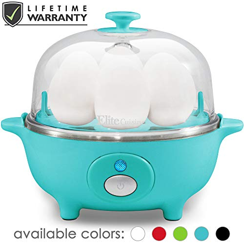 Maxi-Matic EGC-007T Easy Electric Egg Poacher, Omelet & Soft, Medium, Hard-Boiled Measuring Cup Included, 7 Capacity, Teal (Best Time To Peel A Hard Boiled Egg)
