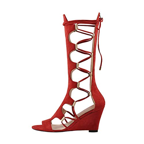 Onlymaker Women's Lace Up Gladiator Wedge Sandal Boots Fashion Sexy Cutout Mid Calf Back Zipper Sandals for Spring Summer Red 9.5 M US (Spring Dresses Sexy)
