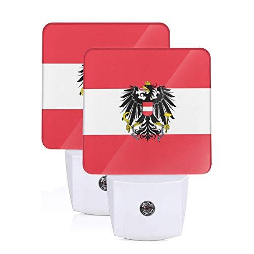 GHWEAQu Austria State Flag Fashion Plug-in Night Light, Warm White LED Nightlight, Dusk-to-Dawn Sensor Energy Efficient