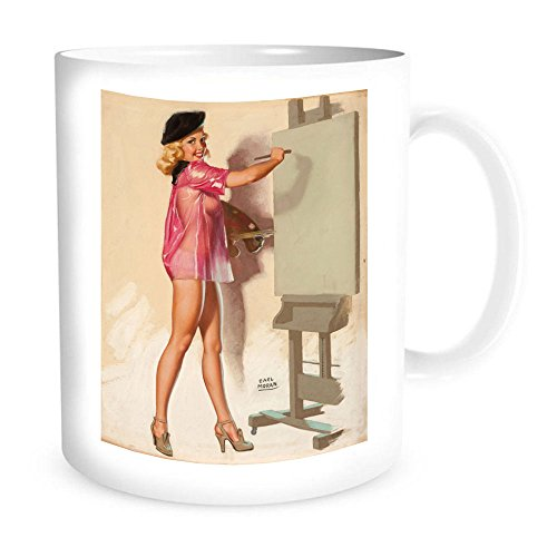 Ceramic Coffe Mug with Vintage Pin-Up, Blank Canvas for sale  Delivered anywhere in USA