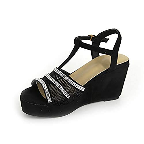HIRIRI Women' Wedges Sandals Roman Platform Shoes T-Strap Wedges Buckle Strap Peep Toe Crystal Mesh Open Toe Sandals Black ()