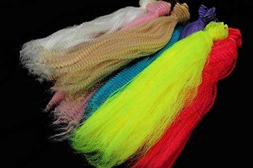 (Tigofly 8 Colors Long Crimped Nylon Synthetic Fiber Kinky Curly Hair Fibre Clouser Minnow Streamer Fly Fishing Tying)