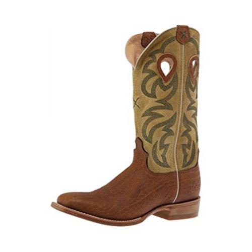 Twisted X Men's Ruff Stock Cowboy Boot Square Toe Dark Brown 9.5 D