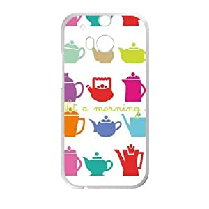 HTC One M8 Cell Phone Case White Teatime Robin Zingone LV7172292