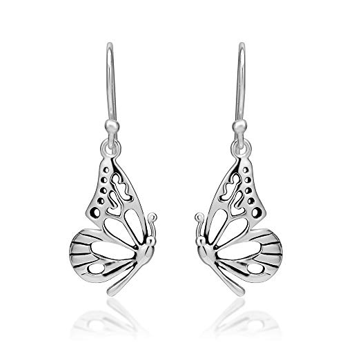 925 Sterling Silver Open Half Butterfly Wing Dangle Hook Earrings