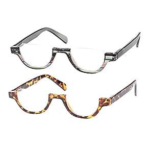 SOOLALA Womens Modern Designer Flat Top 42mm Half Lens Quality Reading Glasses, GrayLeopard, 1.25