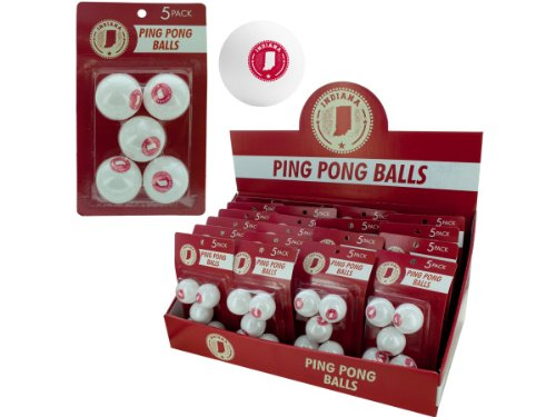 bulk buys Indiana Ping Pong Ball (Countertop Display), White/Red by bulk buys
