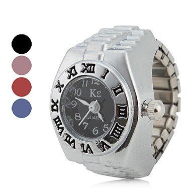 Mujeres de estilo Roman Digital aleación analógico anillo reloj de cuarzo (colores surtidos), Black: Amazon.es: Relojes