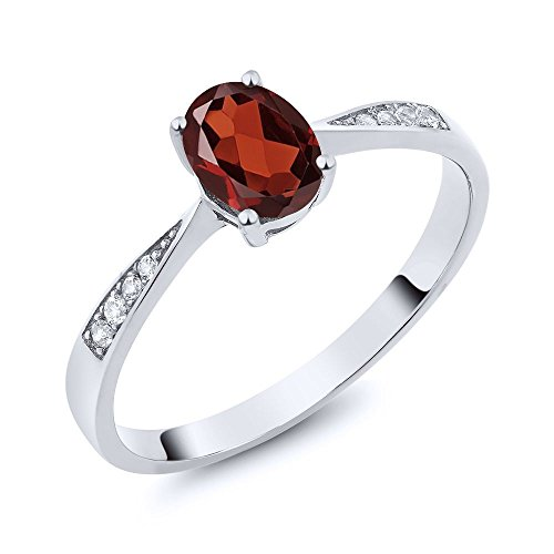 Gem Stone King 10K White Gold Diamond Ring with 0.96 Ct Oval Red Garnet (Size 7)