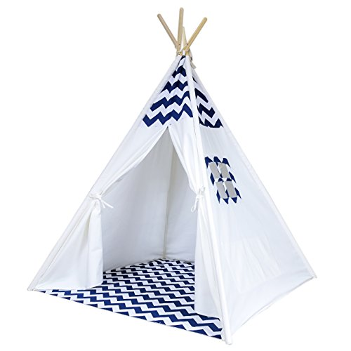 Chevron Teepee Tent for Kids - Portable Cotton Canvas Tent with Carrying Case, Makes a Great Indoor Playhouse (Navy)