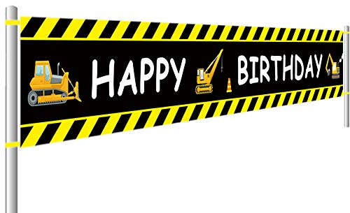 Construction Vehicle Happy Birthday Banner, Baby Boy Toddler Kids Construction Theme Birthday Party Decorations Supplies, Backdrop Background Photo Booth Props Outdoor Indoor (9.8 x 1.5 feet) ()