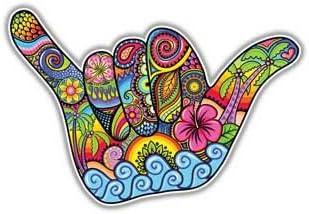 Megan J Designs Aufkleber Zum Aufhängen Shaka Handschild Hawaii Motiv Für Laptops Fenster Autos Vinyl Auto