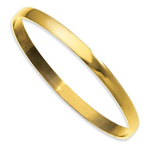 7mm High Polish Bangle Bracelet (7mm Yellow Gold Plated 316L Stainless Steel High Polish Stackable Slip-On Fashion Bangle Bracelet)
