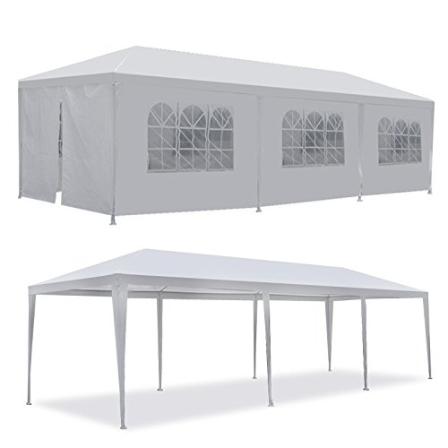 (Smartxchoices 10' X 30' White Gazebo Canopy Tent Outdoor Heavy Duty Wedding Party Camping Cater Events Pavilion Patio Tent with 8 Removable Sidewalls and Windows (10'x30'))