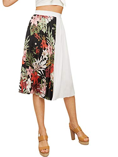 WDIRARA Women's Casual Long Floral Print A Line High Waist Pleated Skirt White S