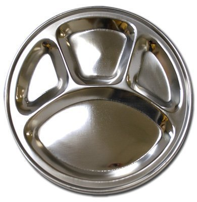 Stainless Steel Round Divided Dinner Plate 4 sections (Best Stainless Steel Plates)