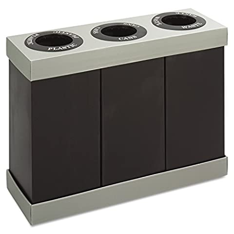 Safco Products 9798BL At-Your-Disposal Waste Recycling Center, Three 28-Gallon Bins, Black - Paper Recycling Bin