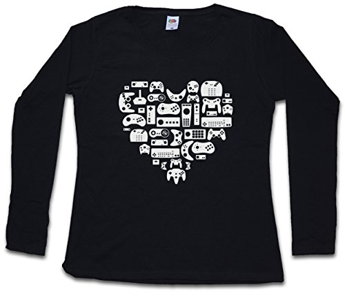 CONTROLLER HEART I DAMEN GIRLIE LANGARM T-SHIRT - Video Game Gamepad NES Evolution Joystick Girl Größen XS – 2XL