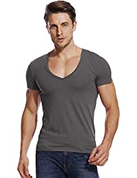Stretch T Shirt for Men Deep V Neck Tee Muscle Slim Fit Low Cut Male Vee Top
