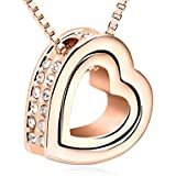 Love You Forever Engraved Crystals from Swarovski Heart Necklace Rose Gold Plated