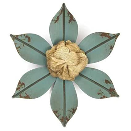 Amazon Com Distressed Blue Flower Metal Wall Decor With Burlap
