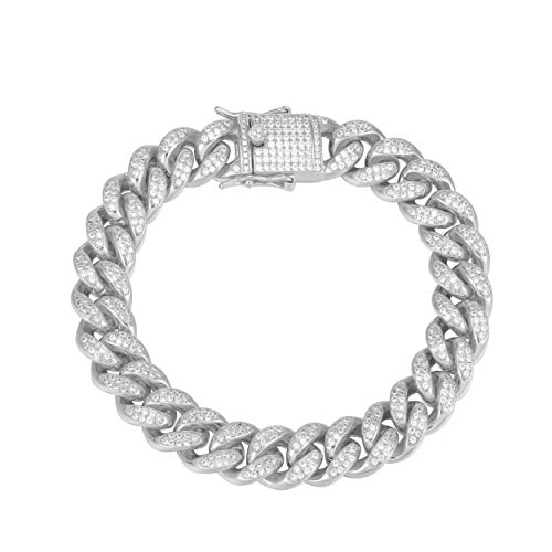 Bracelet Link Setting - TRIPOD JEWELRY Hip Hop Thick 12mm 18K Gold Plated Iced Out Miami Cuban Link Chain Bracelet Simulated Diamond Iced Out CZ Cuban Link Choker for Mens Cuban Chain Necklace (8.5, 12mm White Gold)