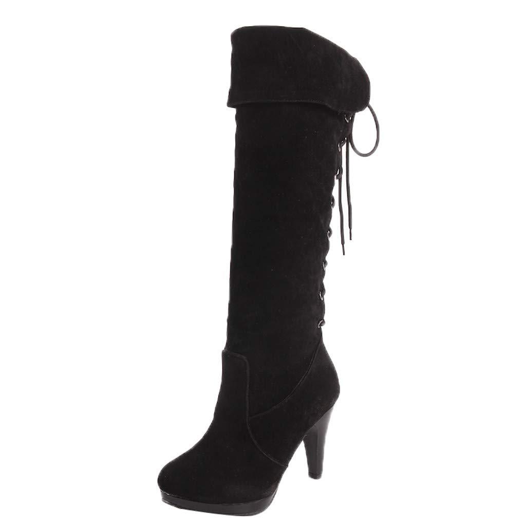 Plot Damen hohe Stiefel Lace up Stiletto Heels Fashion Schnürsenkel Reitstiefel