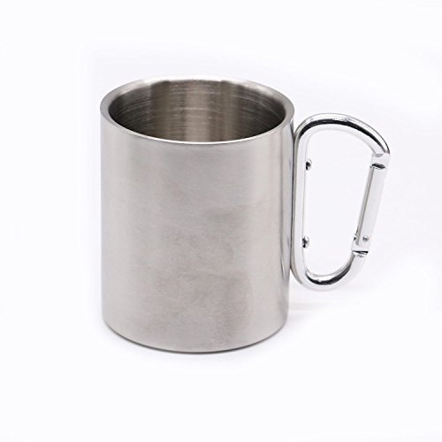 Stainless Steel 8 Oz. Carabiner Mug Portable Travel Water Tea Coffee Cup with D-Ring Carabiner Hook as Handle for Outdoor Sports Camping Hiking Climbing And More by HUELE