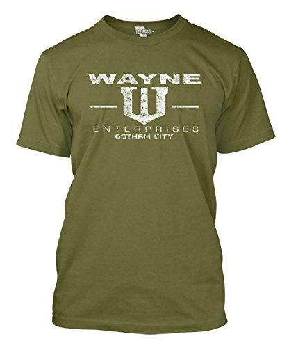 Tcombo Wayne Enterprises Men's T-Shirt (Large, Olive Green) - Green Lantern Cap