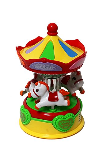Musical Horses Carousel - Adorable Colorful CAROUSEL Merry Go Round Toy~Rotating Horses go Up and Down~Light & Music~5 Songs~Great Gift for Toddler or Baby's Room!