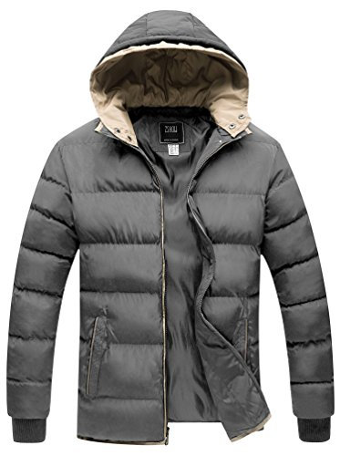 ZSHOW Men's Winter Double Hooded Thicken Quilted Cotton Jacket(Grey,Large) ()