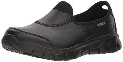 Skechers for Work Women's Sure Track-Warfell Food Service Shoe,Black Leather,6 M US from Skechers