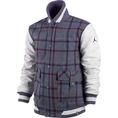 Jordan Plaid Letterman Jacket (Purple/Grey, 3XL)