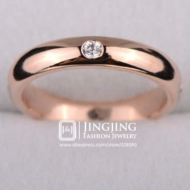 Thick Band 18k Rose (Laprapha 18k Rose Gold Plated Unisex 1.5mm Thick Wedding Band with Four pcs Round cz Synthetic Diamond)