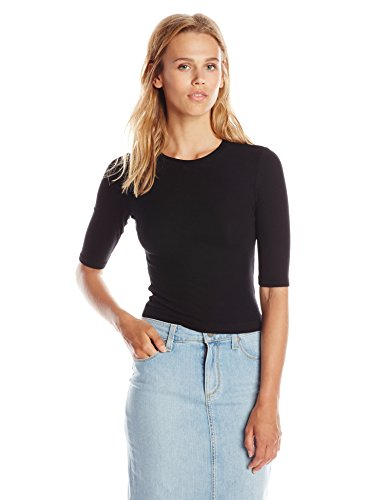 s 2 X 1 Rib Elbow Sleeve Crew Neck Crop, Black, One Size (1x1 Rib Crew Tee)